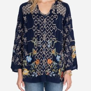 Johnny Was| NWT Luca Blouse in Midnight Blue